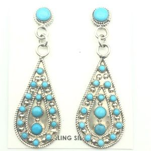 Navajo Earrings Sterling Silver And Turquoise